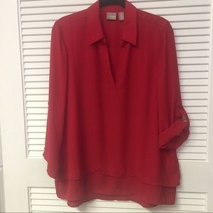 Chico's Beautiful Red Blouse with Layered Hem